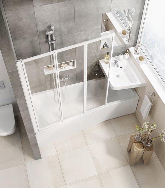 A BeHappy praktikus és helytakarékos kád-mosdó ötleten alapszik.